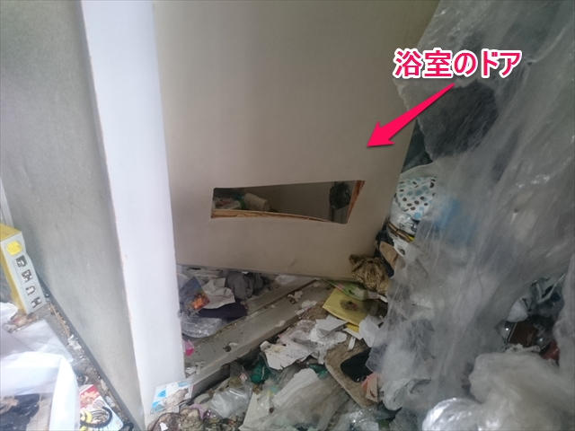 壊れた浴室ドア